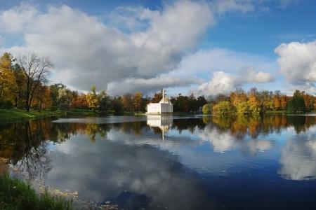 turkish bath: Great Pond and Turkish bath in the Catherine Park, Tsarskoe Selo