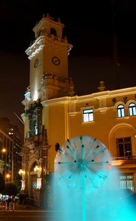 lima: Fountain in front of the town-hall in Miraflores, Lima, Peru Editorial