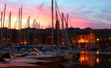 The Old Harbor  Vieux Port  with the Hotel de Ville at Dusk in Marseille, France photo