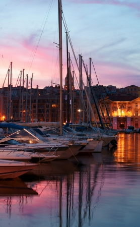 refelction: Refelction in the Old Harbor Vieux Port at Dusk in Marseille, France
