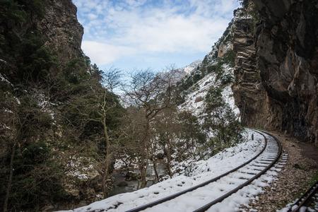narrow gauge: Cog Railway in Vouraikos gorge , Peloponnese, Greece Stock Photo