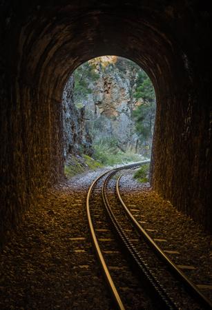 narrow gauge railroads: Cog Railway in Vouraikos gorge , Peloponnese, Greece Stock Photo
