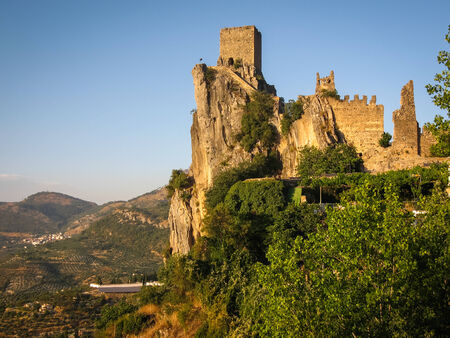 castle rock: Image of ruins of an ancient castle at sunset, La Iruela, Andalusia, Spain