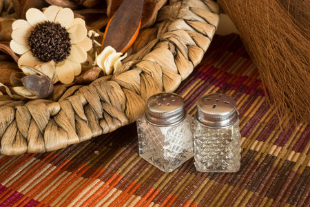 salt and pepper: Kitchen still life with salt, pepper and spices
