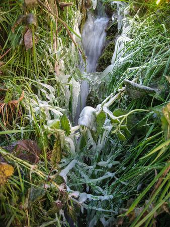 castilla y leon: Winter frozen landscape  in Tobera, Burgos, Castilla y Leon, Spain