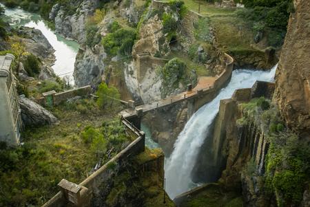pena: Waterfall at Embalse de Pena, Aragon, Spain Stock Photo
