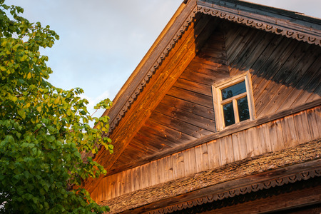 trims: Image of willage house windows with trims at  Palekh, Vladimir region, Russia