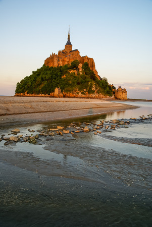 Sunset at the monastery at Le Mont Sent Michael, France photo