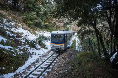 narrow gauge railroads: Cog Railway and train in Vouraikos gorge , Peloponnese, Greece
