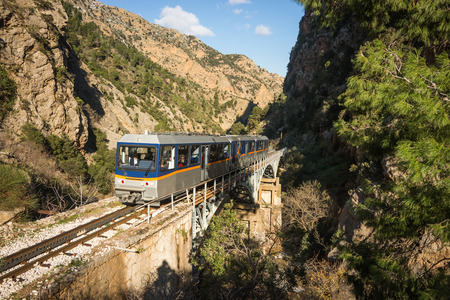 Cog Railway and train in Vouraikos gorge , Peloponnese, Greece