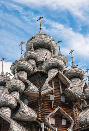 kizhi: Historical and Architectural Museum \Kizhi\. Domes of wooden church in Kizhi