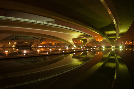 lit image: Image of beautifully lit bridges at night, Valencia, Spain
