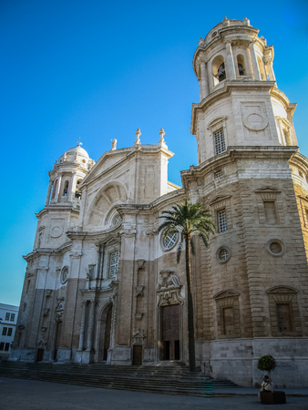 andalusia: Cityscape with cathedral at Cadis, Andalusia, Spain Stock Photo
