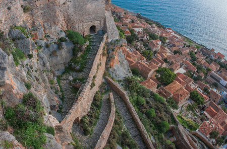 Cityscape  with seaview at medieval town of Monemvasia, Peloponnese, Greece