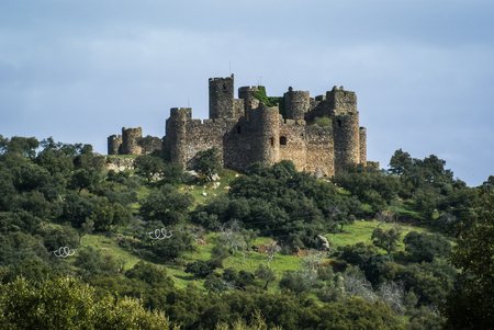 Ruins of a castle at Salvatiera de los Barros, Extremadura, Spain Stock Photo