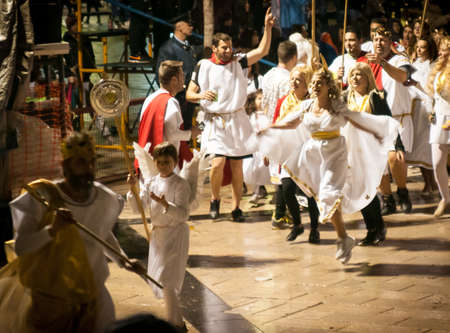 17 march: Patra, Peloponnese, Greece - March, 17:the annual carnival in Patras, folk festivals, night parade 17 March 2013 in Patras, Peloponnese, Greece