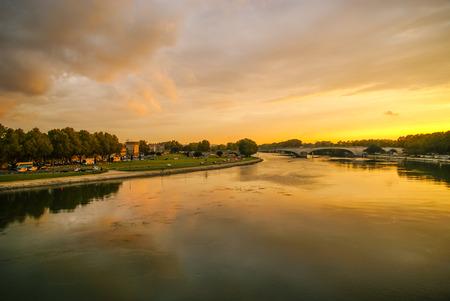 Image of a town at sunset, Avignon, France Reklamní fotografie