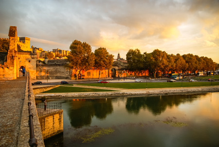 avignon: Image of a town at sunset, Avignon, France Stock Photo