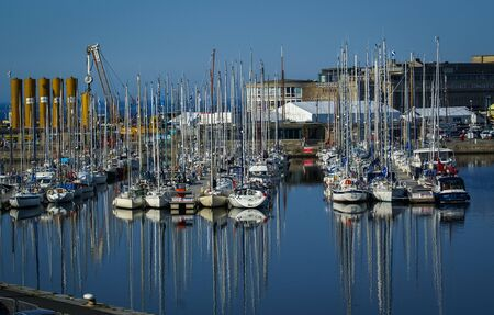 Image of the yachts in the bay near Saint-Malo, France