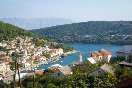 brac: Seascape with a view of a city at Bol, Brac, Croatia