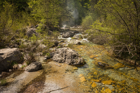 olympus: Picturesque river with waterfalls on Mount Olympus, Northern Greece Stock Photo