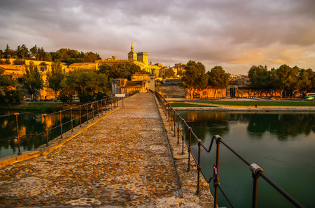 avignon: Image of a town at sunset, Avignon, France Editorial