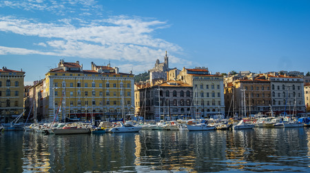 View from the sea to Marseille, France
