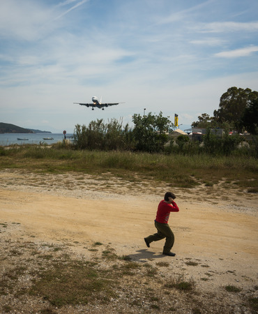 skiathos: Plane coming in to land low over the head, Skiathos, Greece