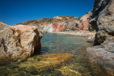 beautiful rare: Beautiful and rare natural colors of Palepchori beach, Milos, Greece Stock Photo