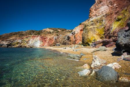 beautiful rare: Beautiful and rare natural colors of Palepchori beach, Milos, Greece Stock Photo