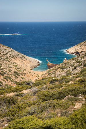 cyclades: Scenic image of shipwreck, Amorgos, Cyclades, Greece