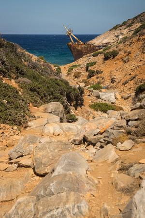 shipwreck: Scenic image of shipwreck, Amorgos, Cyclades, Greece