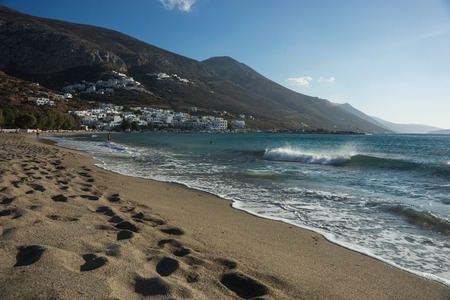 cyclades: Scenic seascape and cityscape at Amorgos, Cyclades, Greece Stock Photo