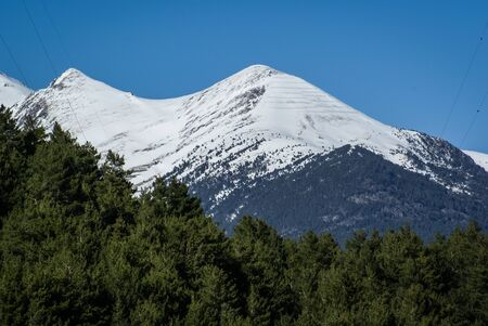 andorra: Scenic landscape with snow mountains in Andorra Stock Photo