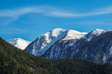 scenic landscape: Scenic landscape with snow mountains in Andorra Stock Photo