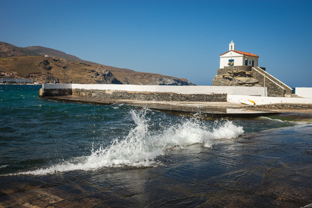 andros: Image of small white church on the beach, Andros, Greece