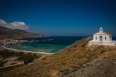 andros: Small church and sea landscape near the town of Andros, Andros, Greece