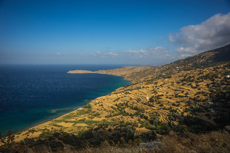 andros: Image of scenic fields separated by stone fences, Andros, Greece