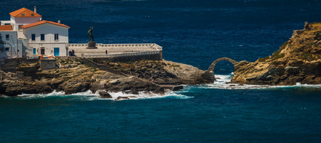 andros: Image of scenic seascape with Andros city, Greece Stock Photo