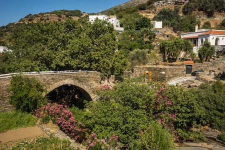 andros: Image of picturesque stone bridge in the flowers on the island of Andros, Greece