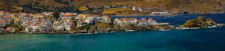 andros: Scenic panoramic view of the city of Andros, Andros, Greece Stock Photo