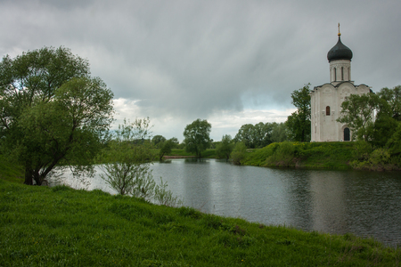 inscribed: Church of the Intercession on the River Nerl. Inscribed in the Wold Heritage List, Russia