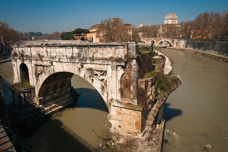 tiber: Picturesque landscape with an island on Tiber river, Rome, Italy