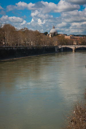 tevere: Picturesque landscape with an island on Tiber river, Rome, Italy