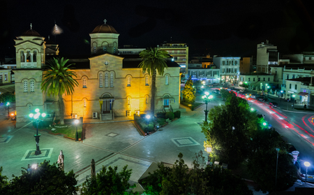central square: Image of Central square in Argos at night, Greece