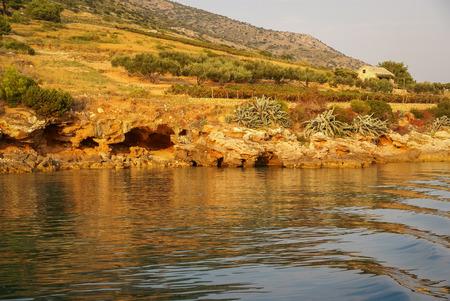 brac: Seascape at Sunset at Bol, Brac, Croatia Stock Photo