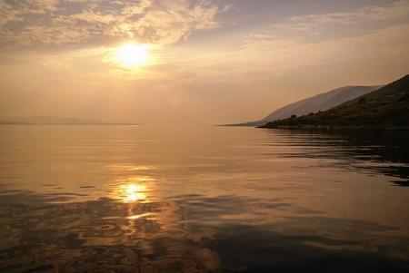 brac: Seascape at Sunset at Bol, Brac, Сroatia Stock Photo