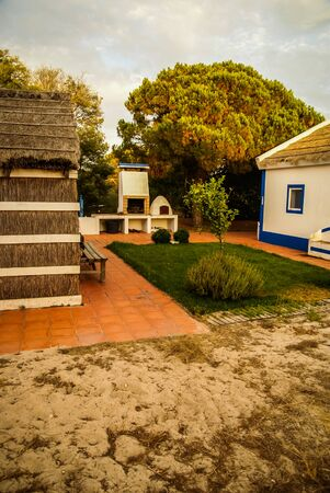 a house with a straw: Image of a small village house of straw, Portugal