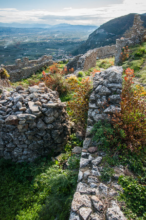 byzantine: Ruins of the medieval Byzantine ghost town-castle of Mystras, Peloponnese, Greece