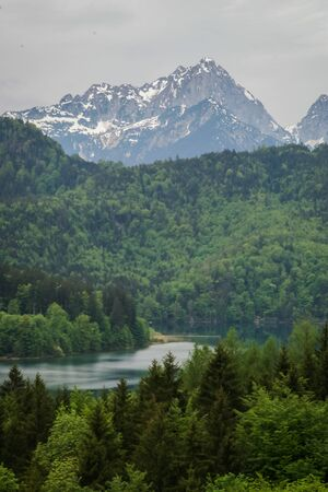 scenic landscape: Scenic landscape with mountains and lake in Bavaria, Germany Stock Photo